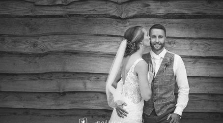 wedding couple at the tithe barn