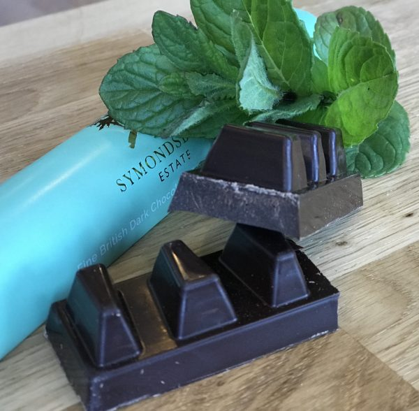 mint chocolate with mint leaf and blue wrapper