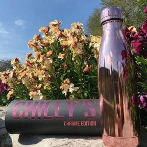 chillys bottle in rose gold, chrome edition with cylinder box