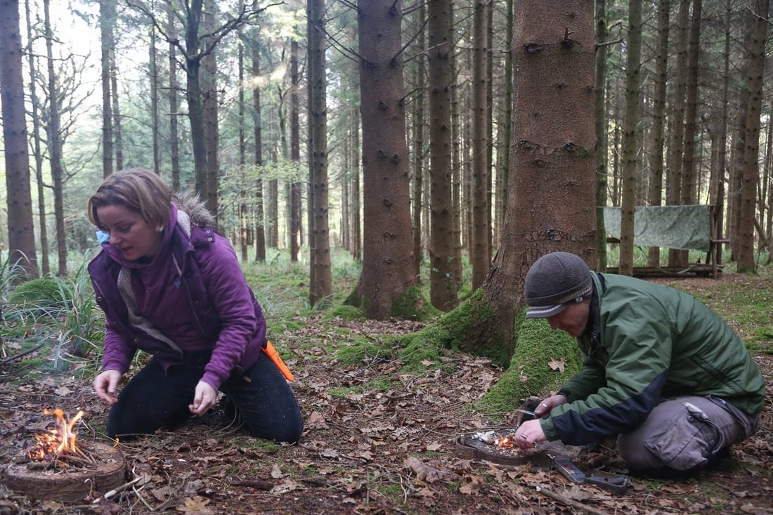 Survival training in the woods
